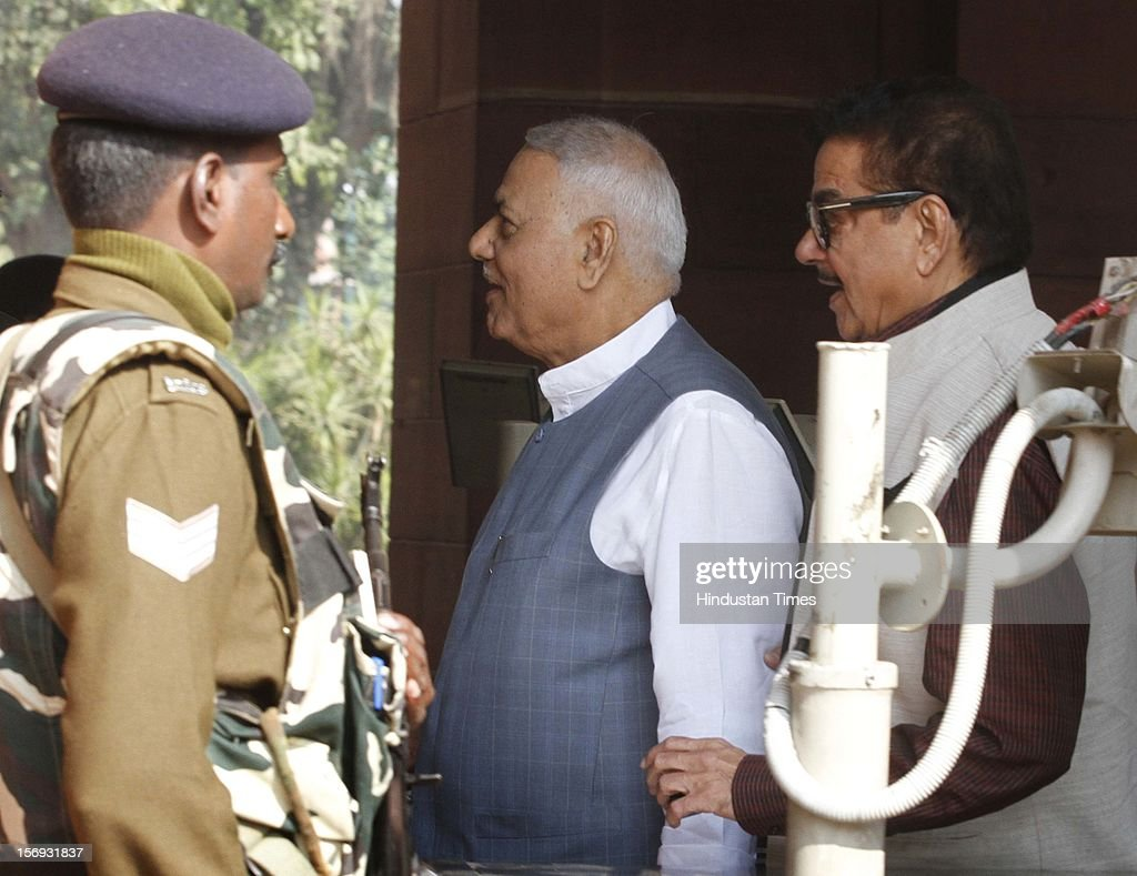BJP Leaders <a gi-track='captionPersonalityLinkClicked' href=/galleries/search?phrase=Yashwant+Sinha&family=editorial&specificpeople=227891 ng-click='$event.stopPropagation()'>Yashwant Sinha</a>, Shatrughan Sinha at Parliament House on the first day of its winter session on November 22, 2012 in New Delhi, India. Parliament's winter session began on a stormy note as the issue of FDI in trade and reservation for ST/SC in promotion disrupted the Lok Sabha and Rajya Sabha.