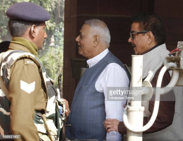 Leaders Yashwant Sinha Shatrughan Sinha at Parliament House on the first day of its winter session on November 22 2012 in New Delhi India...