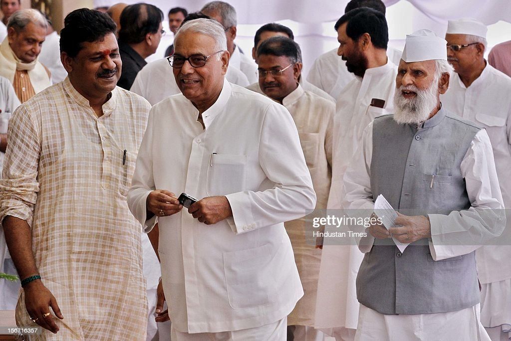 'NEW DELHI, INDIA - JULY 19: BJP Leaders Yashwant Sinha with Kirti Azad and other leaders after casting their vote during voting for the country's new president at Parliament House on July 19, 2012 in New Delhi, India. (Photo by Arvind Yadav/Hindustan Times Via Getty Images)'