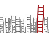 leadership concept with red ladder among grey ladders