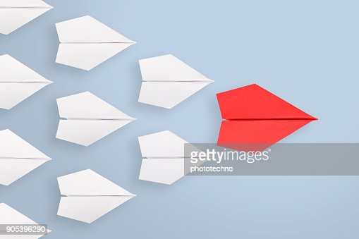 Leadership concepts with blue paper airplane : Stock Photo
