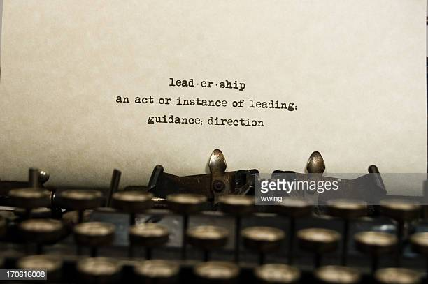 Leadership definition on an old typewriter