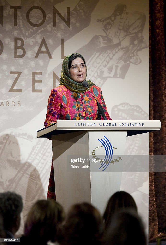 Leadership in Civil Society winner Suraya Pakzad speaks during the Clinton Global Citizens Awards at the conclusion to the annual Clinton Global Initiative (CGI) on September 23, 2010 in New York City. The sixth annual meeting of the CGI gathers prominent individuals in politics, business, science, academics, religion and entertainment to discuss global issues such as climate change and the reconstruction of Haiti. The event, founded by Clinton after he left office, is held the same week as the General Assembly at the United Nations, when most world leaders are in New York City.