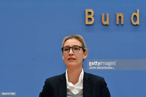 Leadership member of the Alternative for Germany Alice Weidel addresses a press conference on the day after the German General elections on September...