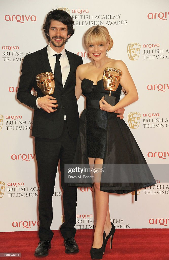 Leading Actor Ben Whishaw (L) and Leading Actress Sheridan Smith pose in the press room at the Arqiva British Academy Television Awards 2013 at the Royal Festival Hall on May 12, 2013 in London, England.