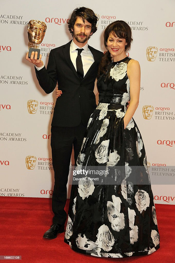Leading Actor winner Ben Whishaw (L) and Helen McCrory pose in the press room at the Arqiva British Academy Television Awards 2013 at the Royal Festival Hall on May 12, 2013 in London, England.