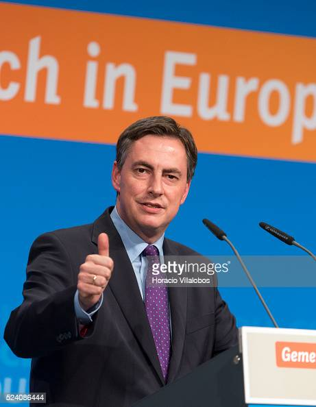 CDU leading candidate David McAllister speaks to supporters before German Chancellor Angela Merkel kicks off CDU European election campaign in...