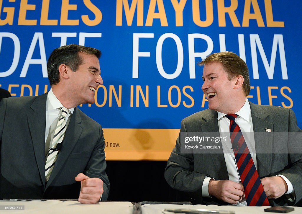 Leading candidates seeking to succeed Los Angeles Mayor Antonio Villaraigosa, (L - R) City Council member <a gi-track='captionPersonalityLinkClicked' href=/galleries/search?phrase=Eric+Garcetti&family=editorial&specificpeople=635706 ng-click='$event.stopPropagation()'>Eric Garcetti</a> and former talk show host and prosecutor Kevin James attend a panel discussion on improving schools with fellow mayoral candidates during the United Way of Greater Los Angeles' Education Summit at the Los Angeles Convention Center on February 27, 2013 in Los Angeles, California. The five leading candidates discuss teacher evaluations, school choice, budget cuts, the relationship between the Los Angeles Unified School District and United Teachers Los Angeles and the union representing the district's teachers.