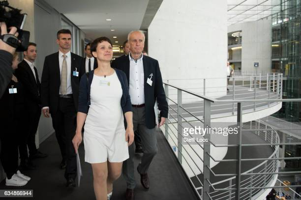 Leading member of the AFD party Frauke Petry and AfD candidate Albrecht Glaser arrive for the election of the new president of Germany by the Federal...
