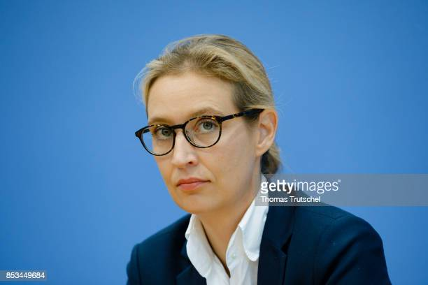 Leading member of the rightwing Alternative for Germany Alice Weidel speaks to the media at Bundespressekonferenz on September 25 2017 in Berlin...