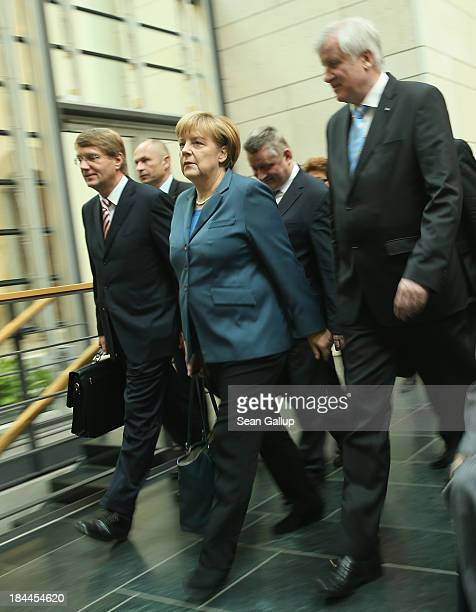 Leading members of the German Christian Democrats including Chancellor Angela Merkel as well as Horst Seehofer Chairman of the Bavarian Christian...