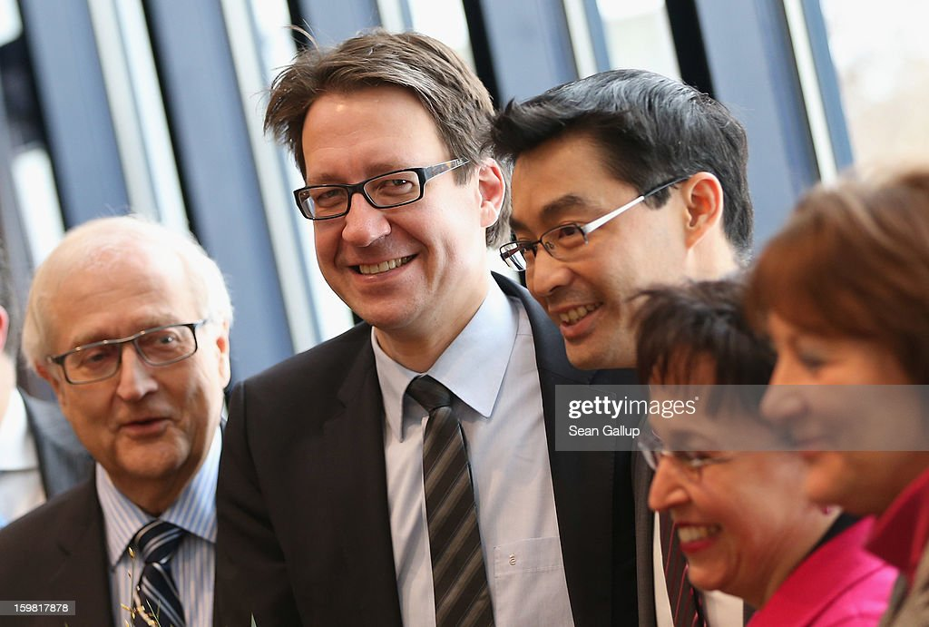 Leading members of the German Free Democrats (FDP), from L to R, Bundestag faction leader <a gi-track='captionPersonalityLinkClicked' href=/galleries/search?phrase=Rainer+Bruederle&family=editorial&specificpeople=2146238 ng-click='$event.stopPropagation()'>Rainer Bruederle</a>, Lower Saxony lead candidate Stefan Birkner, party Chairman <a gi-track='captionPersonalityLinkClicked' href=/galleries/search?phrase=Philipp+Roesler&family=editorial&specificpeople=4838791 ng-click='$event.stopPropagation()'>Philipp Roesler</a>, Birgit Homburger and Justice Minister <a gi-track='captionPersonalityLinkClicked' href=/galleries/search?phrase=Sabine+Leutheusser-Schnarrenberger&family=editorial&specificpeople=3026148 ng-click='$event.stopPropagation()'>Sabine Leutheusser-Schnarrenberger</a> arrive for a meeting of the FDP governing board the day after the party achieved ist best result ever in elections in Lower Saxony on January 21, 2013 in Berlin, Germany. According to breaking news reports Roesler will remain as party chairman though Bruederle will become the party's candidate for chancellor in German national elections scheduled for later this year. Many FDP supporters blame Roesler for a steady decline in the party's nationwide popularity.