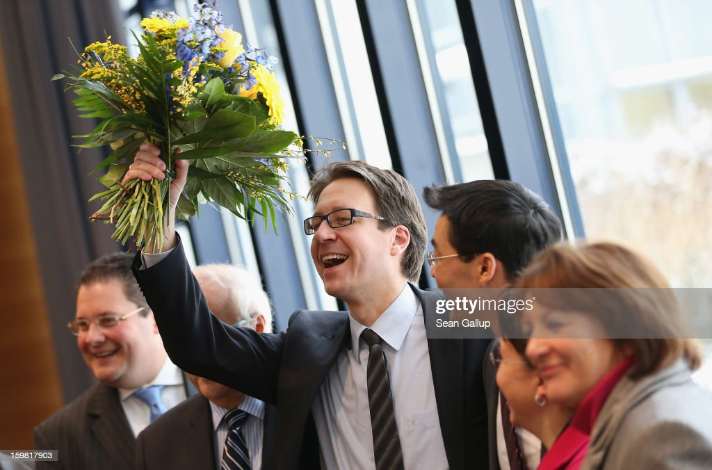 Leading members of the German Free Democrats (FDP), from L to R, party General Secretary Patrick Doering, Bundestag faction leader <a gi-track='captionPersonalityLinkClicked' href=/galleries/search?phrase=Rainer+Bruederle&family=editorial&specificpeople=2146238 ng-click='$event.stopPropagation()'>Rainer Bruederle</a>, Lower Saxony lead candidate Stefan Birkner, party Chairman <a gi-track='captionPersonalityLinkClicked' href=/galleries/search?phrase=Philipp+Roesler&family=editorial&specificpeople=4838791 ng-click='$event.stopPropagation()'>Philipp Roesler</a>, Birgit Homburger and Justice Minister <a gi-track='captionPersonalityLinkClicked' href=/galleries/search?phrase=Sabine+Leutheusser-Schnarrenberger&family=editorial&specificpeople=3026148 ng-click='$event.stopPropagation()'>Sabine Leutheusser-Schnarrenberger</a> arrive for a meeting of the FDP governing board the day after the party achieved ist best result ever in elections in Lower Saxony on January 21, 2013 in Berlin, Germany. According to breaking news reports Roesler will remain as party chairman though Bruederle will become the party's candidate for chancellor in German national elections scheduled for later this year. Many FDP supporters blame Roesler for a steady decline in the party's nationwide popularity.