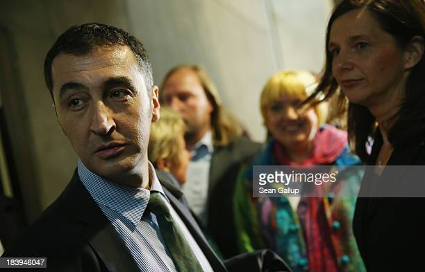 Leading members of the German Greens Party including coChairman Cem Oezdemir and Greens Bundestag faction coleader Katrin GoeringEckardt arrive for...