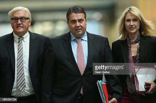 Leading members of the German Social Democrats including Chairman Sigmar Gabriel and SPD Bundestag faction leader FrankWalter Steinmeier and party...