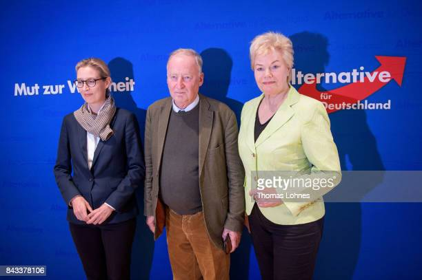 Leading members of the rightwing Alternative for Germany political party including colead candidates Alexander Gauland and Alice Weidel as well as...