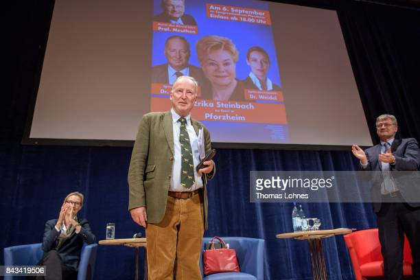 Leading members of the rightwing Alternative for Germany political party including colead candidates Alexander Gauland Alice Weidel and Joerg Meuthen...