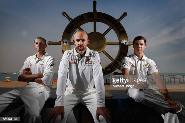 Leading off spinner Nathan Lyon poses with younger spinners Ashton Agar and Mitchell Swepson during an Australia Test cricket squad training session...