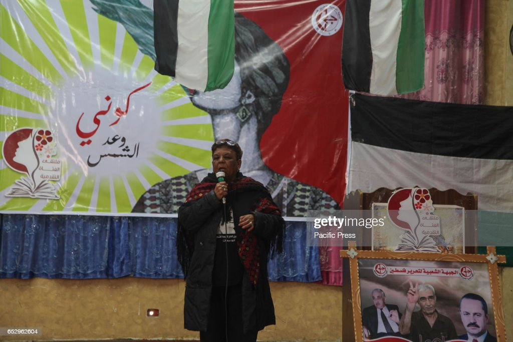 Leading 'PFLP' Mariam Abu Daqqa accuracy speech which salutes Palestinian women in heritage festival in honor of Women's Day in northern Gaza .
