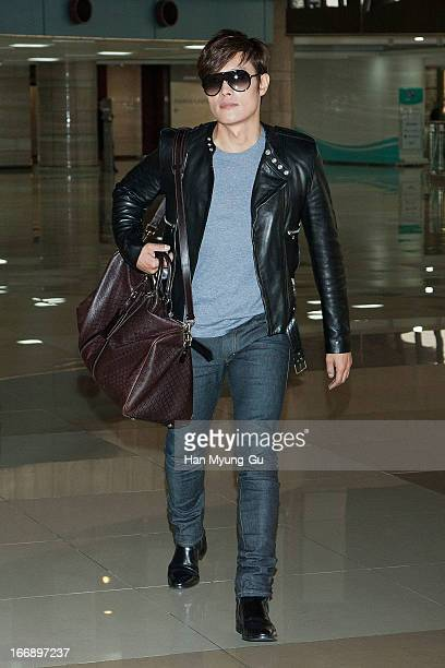 Leading South Korean actor Lee ByungHun is seen on departure to Japan at Gimpo International Airport on April 18 2013 in Seoul South Korea
