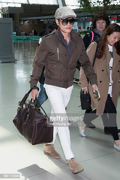 Leading South Korean actor Lee ByungHun is seen on departure to attend the 'Huading Awards' in Hong Kong at Incheon International Airport on April 9...