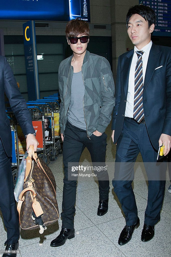 Leading South Korean actor Lee Min-Ho is seen upon arrival at Incheon International Airport on March 25, 2013 in Incheon, South Korea.