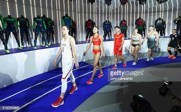 Leading the China team Shao Ting attends the 2016 Olympics Uniforms for USA and International Federations debut at Skylight at Moynihan Station on...