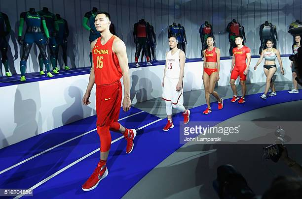 Leading the China team Yi Jianlian and Shao Ting attend the 2016 Olympics Uniforms for USA and International Federations debut at Skylight at...