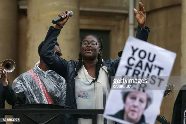Leading vocalist of 'Captain SKA' Abiola performs the track 'Liar Liar' during a protest to complain about BBC Radio 1's refusal to play the 'Liar...