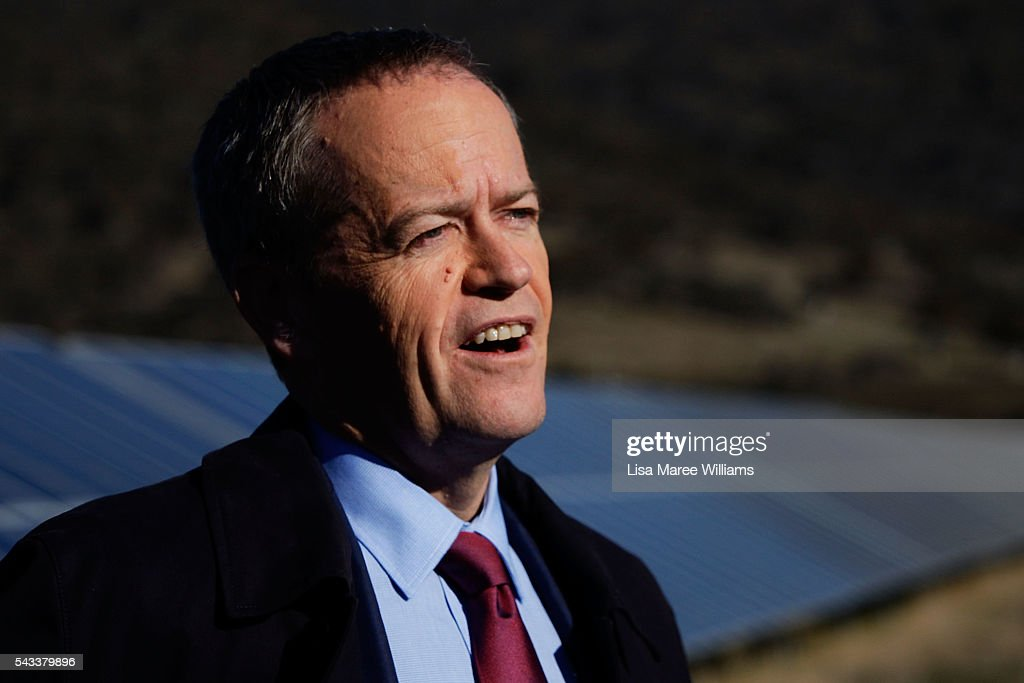Leadof the Opposition, Australian Labor Party <a gi-track='captionPersonalityLinkClicked' href=/galleries/search?phrase=Bill+Shorten&family=editorial&specificpeople=606712 ng-click='$event.stopPropagation()'>Bill Shorten</a> visits the Royalla Solar Farm on June 28, 2016 in Canberra, Australia. Mr Shorten used the visit to outline Labor's policy plans for the renewable energy sector, address climate change and create jobs.
