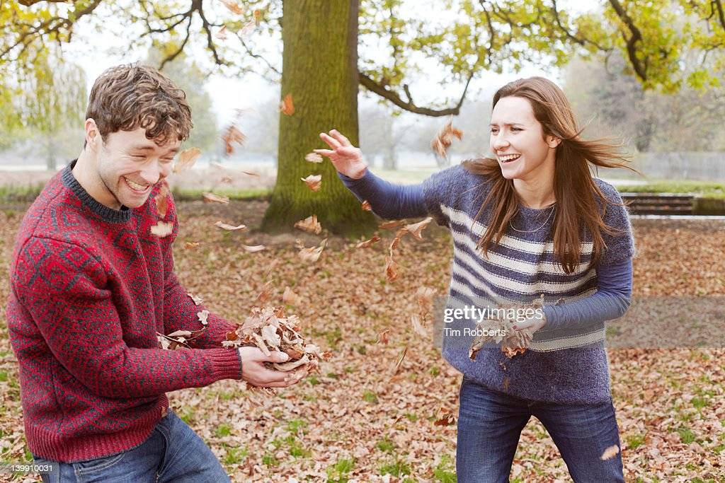 Leaf fight! : Stock Photo
