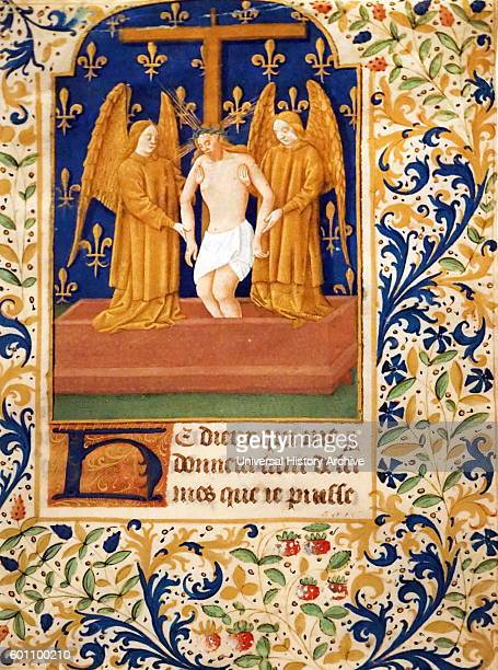 Leaf from a Book of Hours 'Man of Sorrows' Dated 15th Century