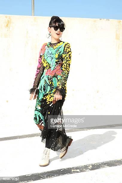 Leaf Greener arrives at Ten Pieces show at MercedesBenz Fashion Week Australia 2015 at Bondi Icebergs on April 16 2015 in Sydney Australia