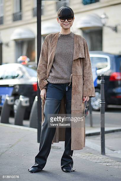 Leaf Greener poses before the Acne Studios show at the Hotel Potocki during Paris Fashion Week FW 16/17 on March 5 2016 in Paris France