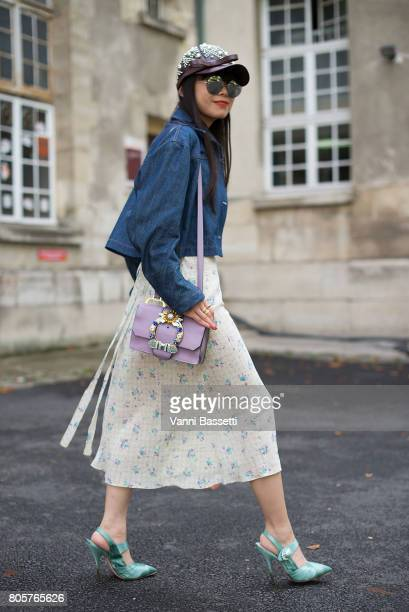 Leaf Greener poses wearing Miu Miu before the Rodarte show at the Cloitre Port Royal during Paris Fashion Week Haute Couture FW17/18 on July 2 2017...