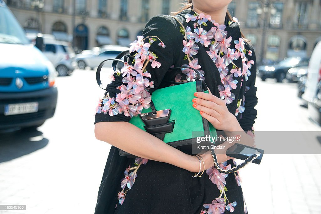 Leaf Greener wears Romance was Born and Loewe bag on day 2 of Paris Fashion Week Haute Couture Autumn/Winter 2015 on July 6 2015 in Paris France