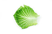 Leaf of cabbage on white
