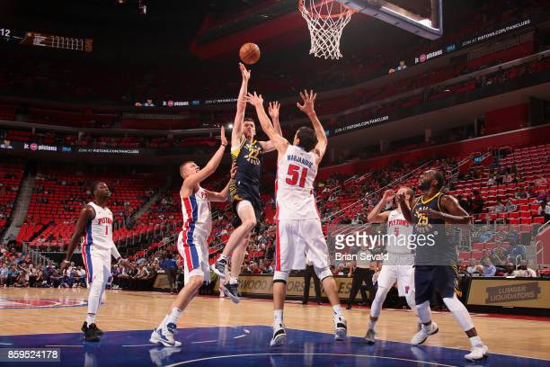 J Leaf of the Indiana Pacers goes to the basket against the Detroit Pistons on October 9 2017 at Little Caesars Arena in Detroit Michigan NOTE TO...