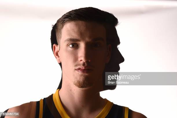 TJ Leaf of the Indiana Pacers poses for a photo during the 2017 NBA Rookie Photo Shoot at MSG training center on August 11 2017 in Tarrytown New York...