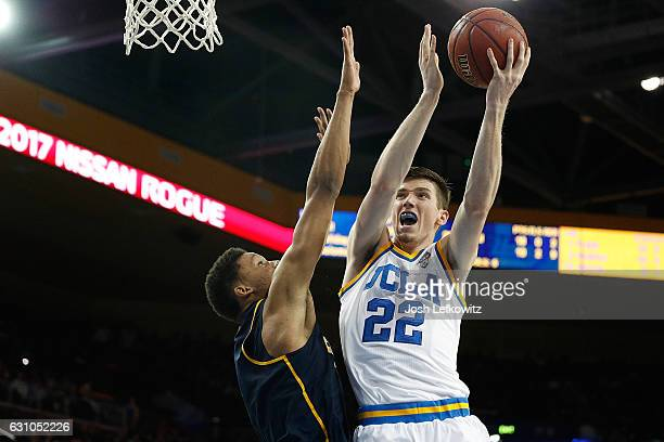 J Leaf of the UCLA Bruins battles past the defender on his way to the basket during their game against the Califorinia Golden Bears at Pauley...