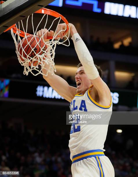 Leaf of the UCLA Bruins dunks the ball against the Kent State Golden Flashes during the first round of the 2017 NCAA Men's Basketball Tournament at...