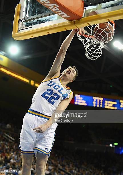 Leaf of the UCLA Bruins dunks the ball during the second half against the Western Michigan Broncos at Pauley Pavilion on December 21 2016 in Los...