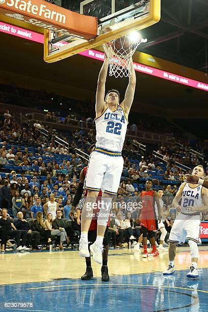 Leaf of the UCLA Bruins dunks the ball in the second period against the Cal State Northridge Matadors the Bruins will win 10287 at Pauley Pavilion on...