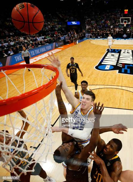 J Leaf of the UCLA Bruins shoots during the first round of the NCAA Basketball Tournament against the Kent State Golden Flashes at Golden 1 Center on...