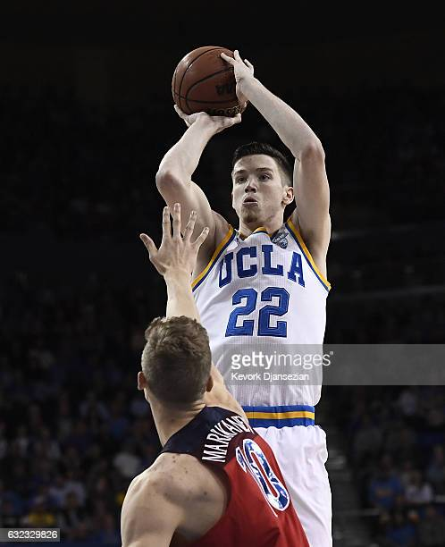 Leaf of the UCLA Bruins shoots over Lauri Markkanen of the Arizona Wildcats during the second half of the game at Pauley Pavilion on January 21 2017...