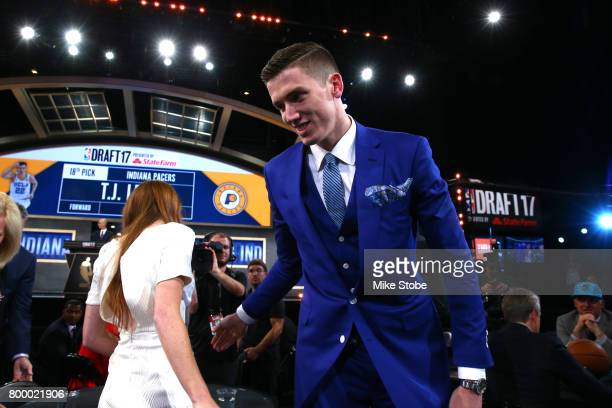J Leaf reacts after being drafted 18th overall by the Indiana Pacers during the first round of the 2017 NBA Draft at Barclays Center on June 22 2017...