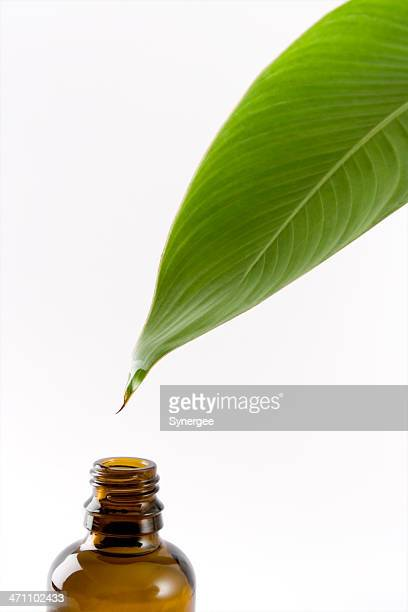 Leaf with oil dripping into an open brown glass bottle