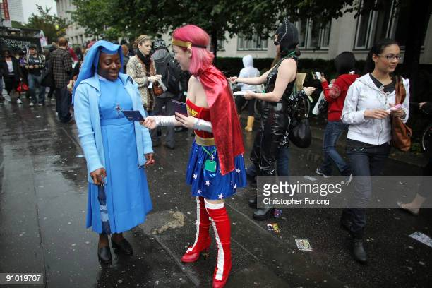 Leaflet distributors give out information to students during Manchester University's freshers week on September 22 2009 in Manchester England As...