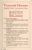A leaflet produced for the British Army during World War One listing the hazards of sexually transmitted diseases circa 1916