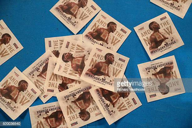Leaflets cover the canvas after the IBF World Heavyweight title fight between Anthony Joshua of England and Charles Martin of the United States at...